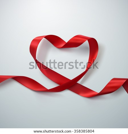 Red Ribbon Heart. Vector Illustration Of Looping Ribbon. Valentines Day Or Medical Concept - stock vector