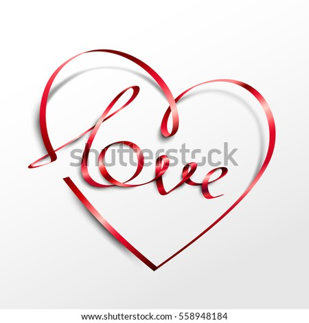 Red ribbon heart with Love inscription. Vector illustration