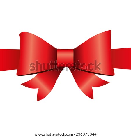 Red ribbon isolated on white background, vector illustration - stock vector