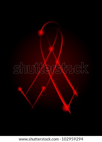 red ribbon made of light streaks - stock vector