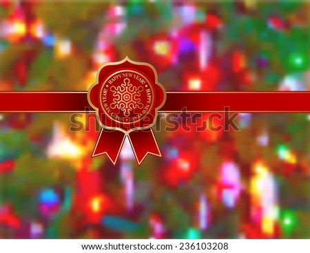 Red Ribbon New Year - stock vector