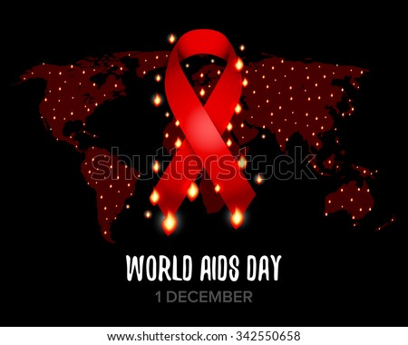 Red ribbon of aids awareness with text for 1st December World Aids Day. World map. Isolated vector illustration. - stock vector