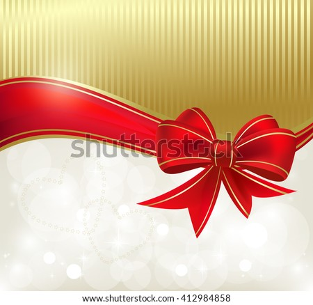Red ribbon on the color background