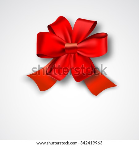 Red Ribbon Satin Bow Isolated on White. Vector Illustration. Invitation Decorative Card Template, Voucher Design, Holiday Invitation Design.