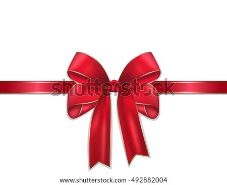 Red ribbon whit Bow isolate on white background. vector illustration EPS10