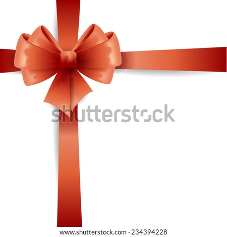 Red ribbon with bow isolated on white - stock vector