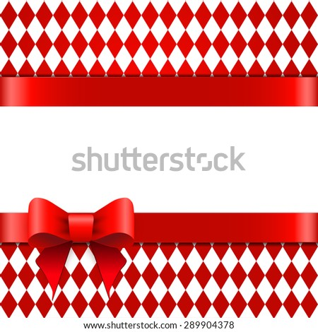 Red ribbon with bow on a rhombus background. Space for text. - stock vector