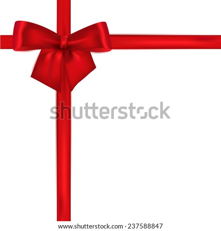 Red ribbon with bow on a white background. Vector illustration.