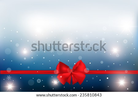 Red ribbon with bow on a white background. Vector illustration. Christmas background.