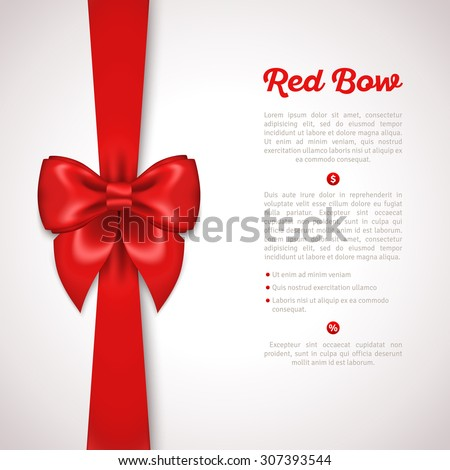 Red Ribbon with Satin Bow Isolated on White. Vector Illustration. Invitation Decorative Card Template, Voucher Design, Holiday Invitation Design. - stock vector