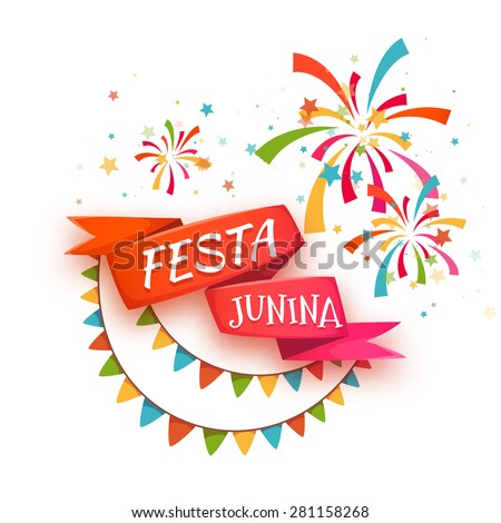 Red ribbon with title for Brazil june party. Vector illustration. - stock vector