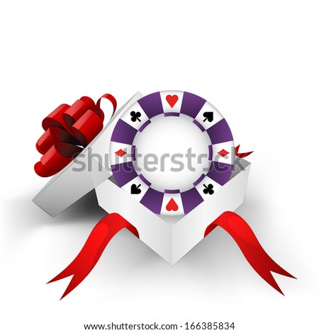 red ribbon wrapped box with poker chip inside vector illustration - stock vector