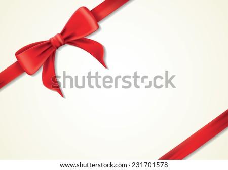 Red ribbons and greeting card, bows, Vector, box - stock vector