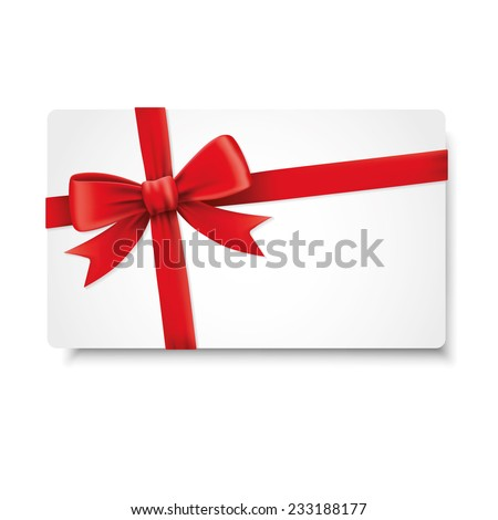 Red ribbons and greeting card, bows, Vector, celebration