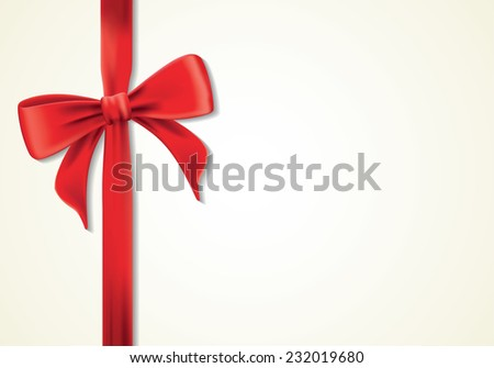 Red ribbons and greeting card, bows, Vector, ornament