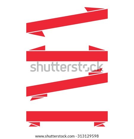 red ribbons, label banner vector - stock vector