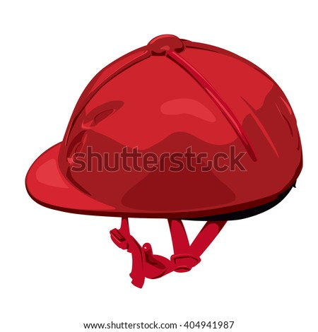 Red riding helmet. Isolated jockey protection on white background. Dirty, realistic object from equestrian enviroment with horses. Horse racing equipment. Flatten isolated master vector illustration