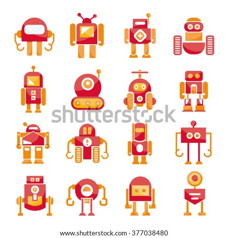 red robot icons set, cute cartoon robots