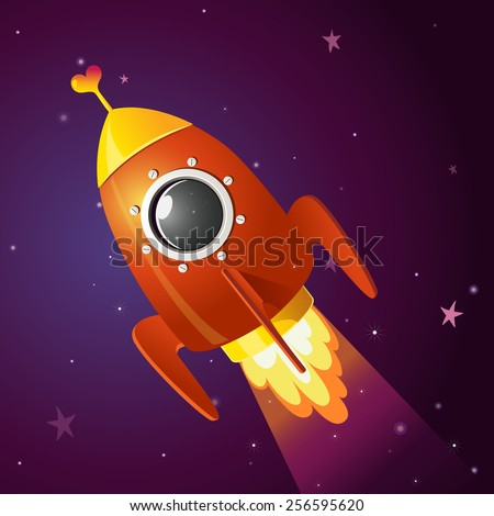 Red rocket and cute heart on the space - stock vector