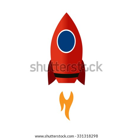 Red Rocket on takeoff. Success. Speed. Motion. Growth. - stock vector