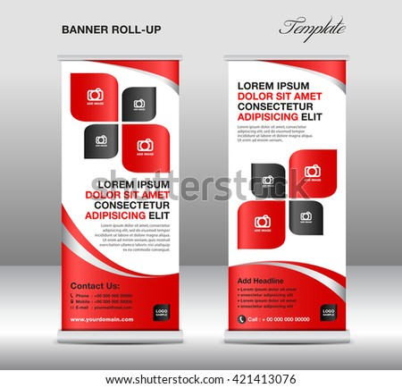 red roll banner stand template advertisementのベクター画像素材