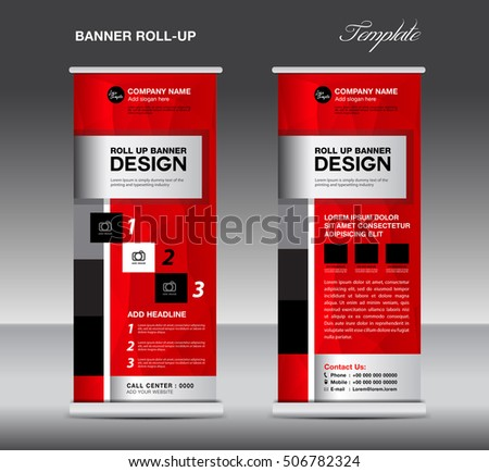 red roll banner stand template advertisement stock vector 421413076 shutterstock. Black Bedroom Furniture Sets. Home Design Ideas