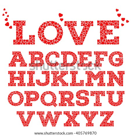 Red romantic alphabet with love inscription made of small red heart shapes isolated on white background. Sweet love mosaic font. Valentine's day, wedding, love concept. Vector illustration.  - stock vector