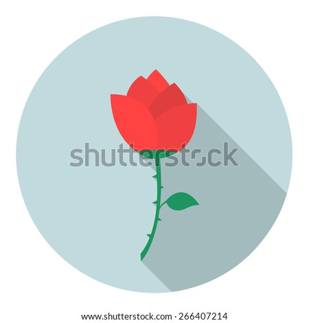 red rose flat icon. vector illustration - stock vector