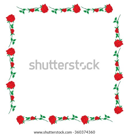 red rose form a square frame on the white background greeting cards invitations of the wedding  birthday  Valentine's Day  Mother's Day   vector