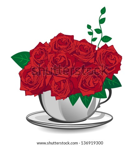 Red rose in a white cup - stock vector