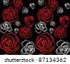 red rose on black background seamless - stock vector