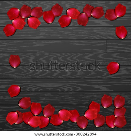 red rose petals . valentine`s card background - stock vector