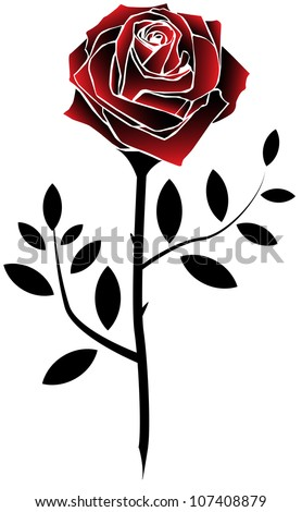 Red Rose Tattoo Style Stock Vector 107408879 Shutterstock