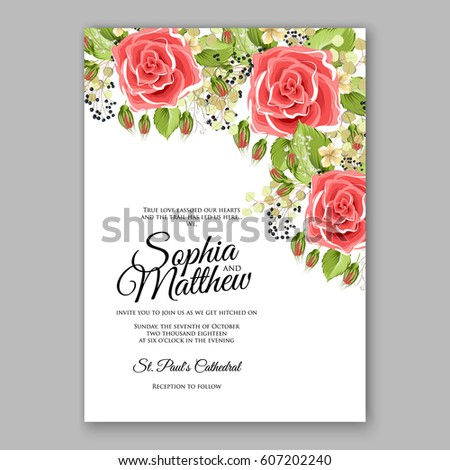 Red Rose Wedding Invitation Card Bridal Vector 606944531 – Red Rose Wedding Invitation