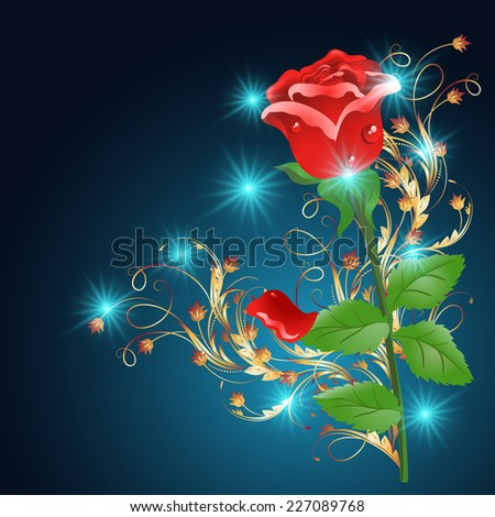 Red rose with golden ornament and glowing stars on the blue background