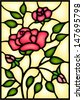 Red roses and bouton. Stained glass window .  - stock vector