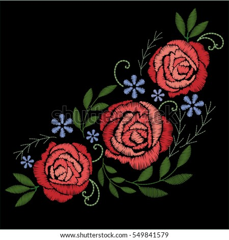 Red Roses Embroidery On Black Background Stock Vector ...