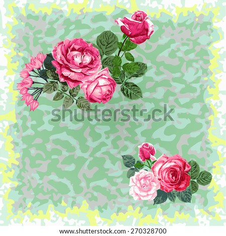 red roses on a green leopard pattern?vector - stock vector