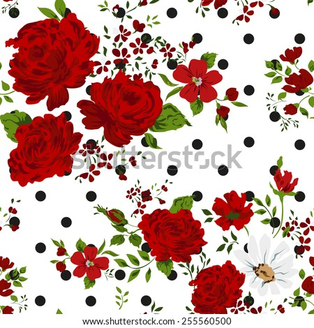 Red roses. Seamless floral background. Vector illustration. - stock vector