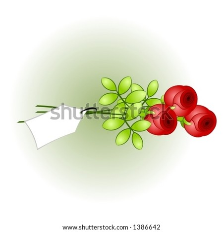 Red roses with tag, write your own message on the tag