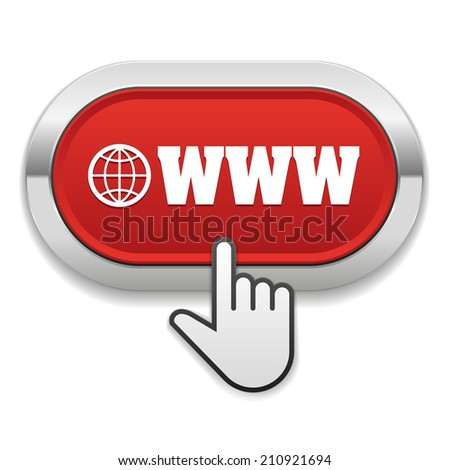 Red round button with internet icon and metallic border - stock vector
