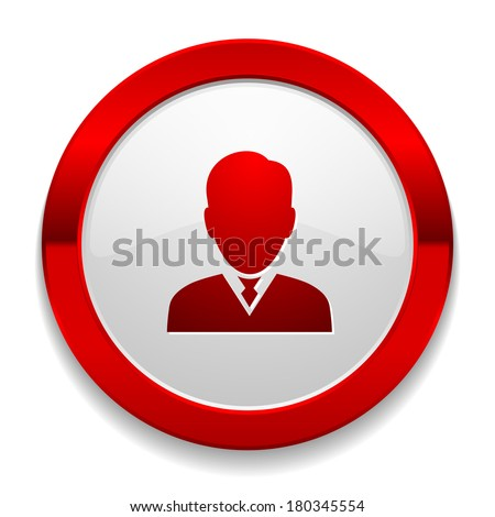 Red round button with male icon - stock vector