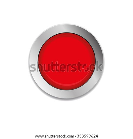 Red round button with metallic border. Vector Illustration