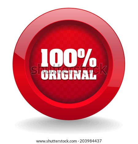 Red round button with original icon on white background