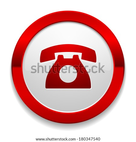 Red round button with phone icon - stock vector