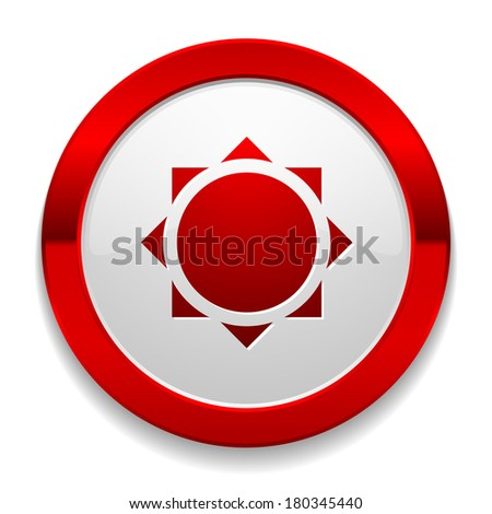 Red round button with sun icon - stock vector