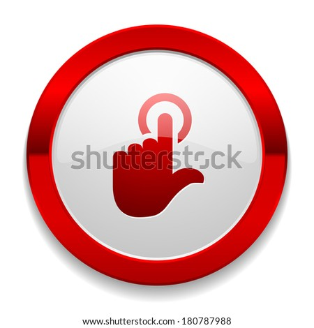Red round button with touchpad icon - stock vector