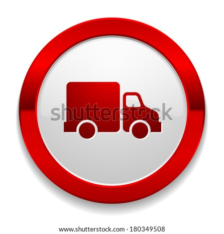 Red round button with truck icon - stock vector