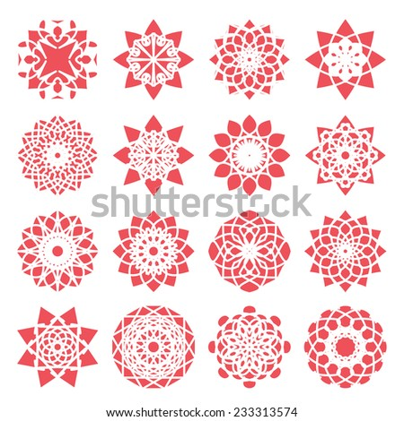 Red round east ornament set. Vector symbols - stock vector