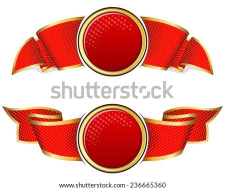 Red round frame with ribbon on white background - stock vector